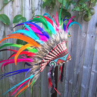 Crazy chief pink rainbow headdress