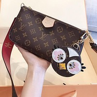 LV Louis Vuitton Hot Sale New Women's Printed Letter Two-Piece Crossbody Bag