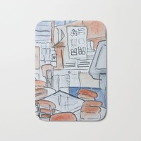 Watercolor V Bath Mat by Alayna H.