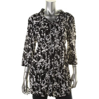 Style & Co. Womens Gauze Printed Button-Down Top