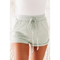 Leisel French Terry Lounge Shorts (Light Mint)