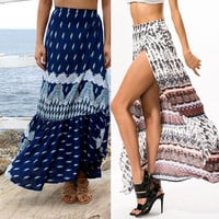 Abstract Printed Maxi Skirt with Side High Slit