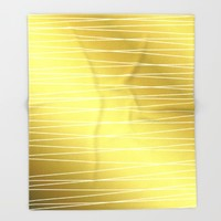 Gold Lines Throw Blanket by Laura Maria Designs