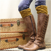 SPICE SCALLOP knit boot cuffs - curry