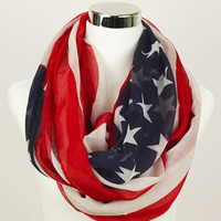 American Flag Infinity Scarf USA Scarf American Flag Scarves White Star Scarves Flag Scarf Women Light weight Scarves Red White Blue Print