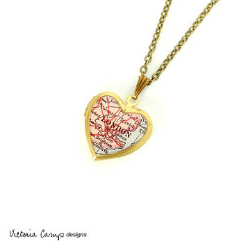 London Antique Map Necklace on Small Vintage Brass Heart Locket, England, Europe, Map Jewelry, Photo Locket