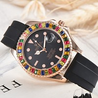 Rolex classic men's and women's casual business colorful gemstone watche