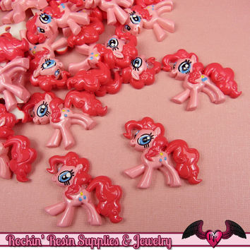 4 pc PINK PONY Flatback Resin Kawaii Cabochons 31 x 29mm Decoden Cellphone Decorations