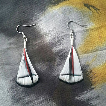 White Feather Earrings with Red and Black Saddle Feather - Feather Earrings - Red Feather Earrings - Black Feather Earrings