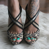 Betsey Johnson Leopard Print Wedges with Clear Straps- Found on Bib + Tuck