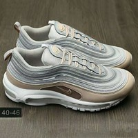 NIKE AIR MAX 97 Fashion Running Sneakers Sport Shoes Grey-Golden G-HAOXIE-ADXJ