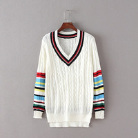 Stripe V-Neck Knitted Sweater