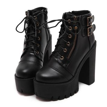 Russian Shoes Black Platform Boots Women Zipper Spring High Heels Shoes Lace Up Ankle Boots
