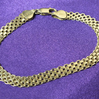 Sterling Silver Flat Style 7-Inch Bracelet, 6 mm Wide, Marked 925 Italy
