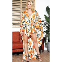 Choose Me White Orange Floral Pattern Long Kimono Sleeve Plunge V Neck High Low Romper Playsuit