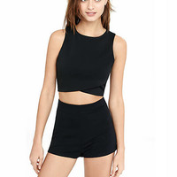 Black High Rise Ponte Knit Shorts from EXPRESS