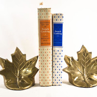 Vintage Brass Maple Leaf Shaped Bookends, Gold Metal Book Ends Library Decor