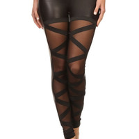Bondage Black Pvc / Vinyl With Mesh Panel Detail, & Crisscross Elastic Band Leggings