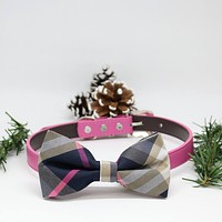 Plaid Pink dog bow tie collar, Puppy Gifts, Dogs Birthday gift, Pet wedding accessory , Wedding dog collar