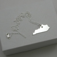 Kentucky Necklace - Sterling Silver Personalized State Love Heart