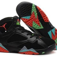 DCCKSU9 Hot Air Jordan 7 (VII) Retro Women Shoes Black Red Green