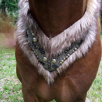 Fur and Armor Equine Necklace / Breast Collar - Warrior Prince, Demon Satyr Equine Costume - Barbarian King Horse Costume