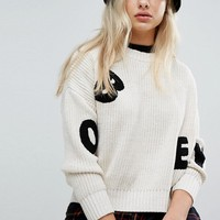 Obey Relaxed Jumper With Jumbled Letters at asos.com