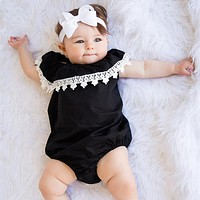 Infant Baby Girls Bodysuit Toddler Kids Polyester Fiber Lace Ruffle Sleeveless Jumpsuit born Clothes