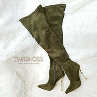 """CR Holden Olive Green Stretch Faux Suede Wide Top 4.5"""" Heel Thigh High Boots"""
