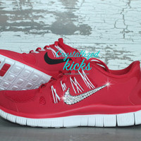 NIKE run free 5.0 shoes w/Swarovski Crystals detail  - Red/white/black