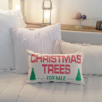 Canvas Christmas Tree Pillow Cover, Holiday Pillow, Christmas Decor, 12x20 Pillow Cover