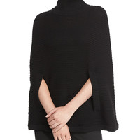 Mock-Neck Ribbed Poncho, Black, Size: