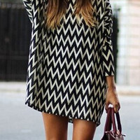 White and Black Zigzag Print Long Sleeve Mini Dress