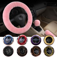3pcs/1set Wool Soft Warm Plush Steering Wheel Cover Sets Spring Handle Sleeves Auto Pillow Winter Supplies Warm