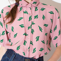 Pink Collared Cactus Printed Chiffon Blouse