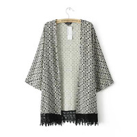 Black Geometric Print Kimono with Lace Accents