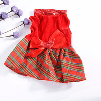 5 Size New Dog Cat Christmas Party Dress Clothes Pet Dog Plaid Bow Apparel