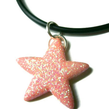 "Starfish Necklace, Pink Glitter Coating, Acrylic, 21"" Black Silicone Cord"