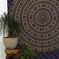 Magical Thinking Blue Elephant Tapestry- Blue Multi One