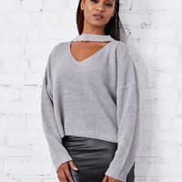 Knit Picky Crop Knitted Collar Sweater