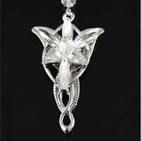 1Pc Vintage Lord Of The Rings Hobbit Arwen Evenstar Necklace Silver Plated Crystal Pendant (Size: 7.5cm by 4.2cm, Color: Silver)