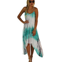 Watermelon Tye Dye Print Beach Style Casual Asymmetrical Dress Loose Vestidos De Renda Sexy 2016 Summer Backless Dresses