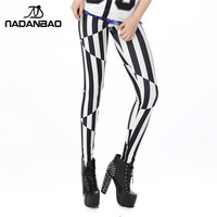 2016 3D Art Legins Trip with Black and White Stripes Leggins Printed Women Leggings KDK1446