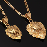 18K Real Gold Plated Exquisite Lion Head Pendant Necklace