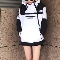 Supreme X TNF Women Fashion Edgy Logo Embroidery Loose Hooded Top Sweater Pullover