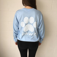 Long Sleeve Sky Blue Paisley White Print
