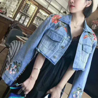 New Fashion Flower Embroider Cowboy Long Sleeve Coat G-AGG-CZDL