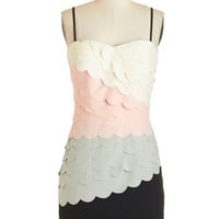 ModCloth Colorblocking Mid-length Strapless Shift Tier Me Out Dress