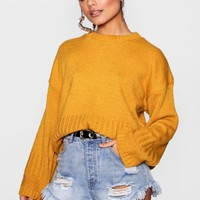 Harriet Oversized Rib Edge Wide Sleeve Jumper | Boohoo