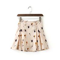 Summer Women's Fashion High Rise Floral Print Pleated Dress Skirt [4920638276]